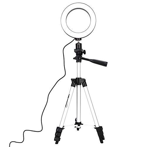 Anello luce Luce LED Carica USB Trucco dimmerabile Trucco specchio Selfie stick Trucco dal vivo video con supporto Dimmerabile LED Kit luce di riempimento