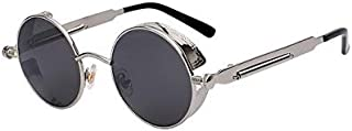 XIU Round Metal Sunglasses Steampunk Fashion Glasses Brand Retro Vintage Eyewear UV400 (Black)