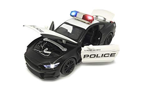 Jamara 405205 Street Kings Ford Shelby GT 350 1:32 Diecast Schwarz – Rückzugmotor, Scheinwerfer/Rücklichter, realistischer Sound, Türen öffnen, detailgetreues Design, schwwarz