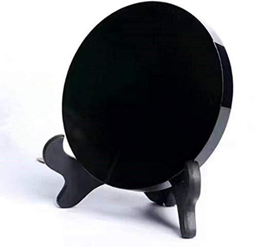 QWEWQE Obsidian - Specchio da tavolo in pietra, con supporto (12 cm/4,7 pollici), colore: Nero