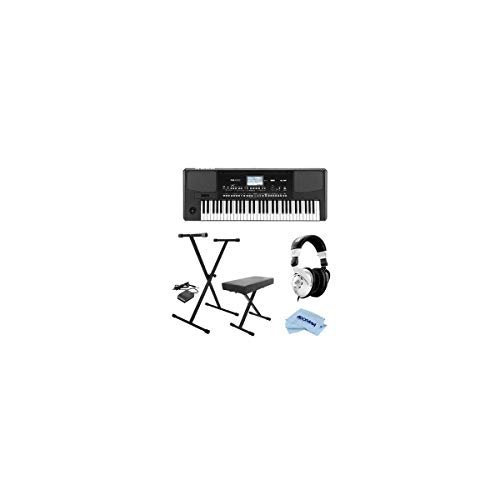 Korg PA300 61 Keys Professional Arranger, 950+ Sounds, USB-MIDI Interface, Bundle With On-Stage KPK6520 Keyboard Stand/Bench Pack with Sustain Pedal, Closed-Back Studio Monitor Headphones, Cloth