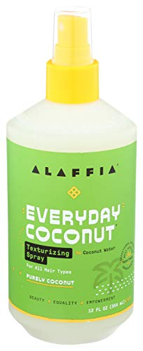 Alaffia Purely Coconut Texturizing Spray - For Normal to Dry Hair, Hydrating Support to Add Volume and Body with Neem, Coconut Water and Extract, Fair Trade, Coconut and Sea Salt, 12 Ounces