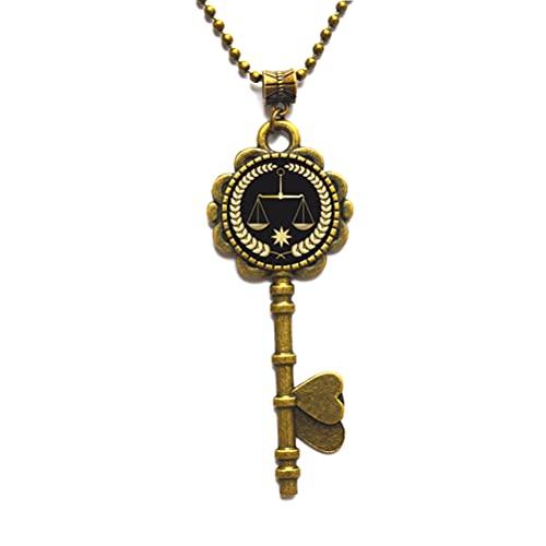 Schlüsselkette mit Waage für Rechtsanwälte, Justiz, Schlüssel-Halskette, Rechtsstudien, Waage, Sternzeichen, Schlüssel-Halskette #336