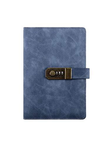 FUYUFU PU Cuadernos de Notas Con Cerradura de Combinación Blocs de Notas Cuaderno de Diario (Azul, A5)