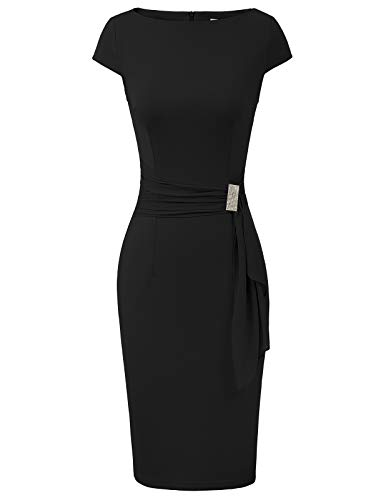 GRACE KARIN Abito da Donna Nero Semplice Elegante con Scollo Rotondo per Feste cene Appuntamenti XL CL011027-1