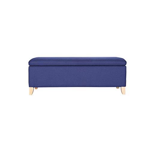 BKWJ Taburete de Almacenamiento Cuadrado, Taburete de Almacenamiento de Marco de Madera Maciza, Taburete de sofá, Cambio de Zapatos, Caja de Almacenamiento, Azul (Color : 100 * 40 * 45cm)