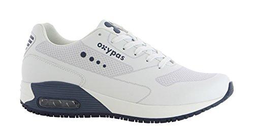 Oxypas Sport, Berufsschuh Justin, antistatischer (ESD) Leder Sneaker für Herren (45, weiß - dunkelblau)