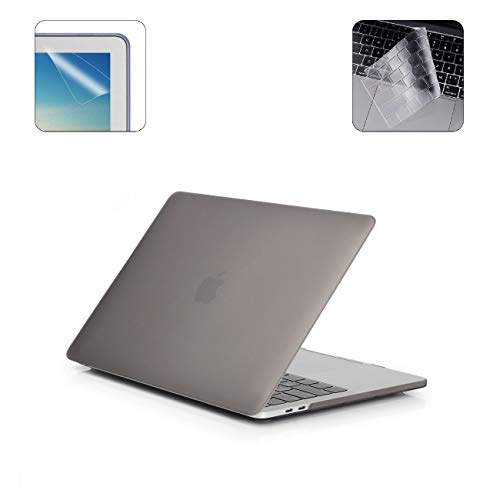 i-Buy Hard Case Shell Compatible with 2019 2018 2017 2016 Macbook Pro 13 Inch with Touch Bar & Touch ID A2159 A1989 A1706 + Keyboard Cover + Screen Protector - Gray