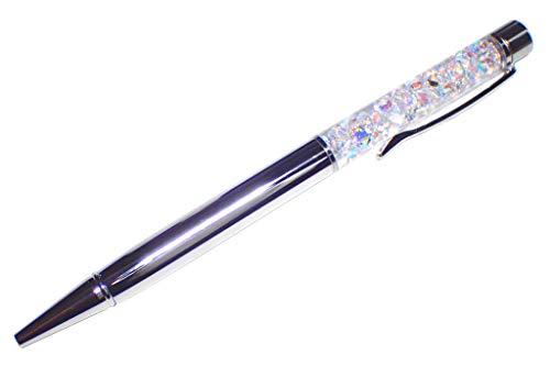 【色選択】 日本初 ダイヤ ハーバリウム ボールペン 完成品 本体1本 5mmオーロラAB 人工ダイヤモンド キュービックジルコニアルース30粒入り 替え芯1本付き ベロア調袋付き カラーをお選び下さい。 (ミラーシルバー)