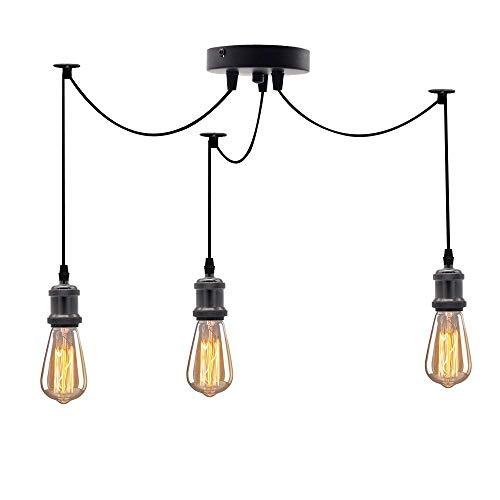 Clúster de Luces Colgantes de Techo Industrial Vintage de 3 vías, Soporte de lámpara E27 Kits de Bricolaje de luz Colgante suspendida - Negro Perla