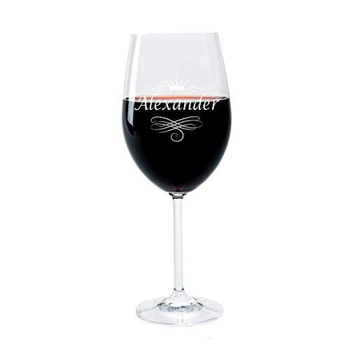 LEONARDO FORYOU24 Weinglas mit Gravur des Namens und Motiv Krone Wein-Glas graviert