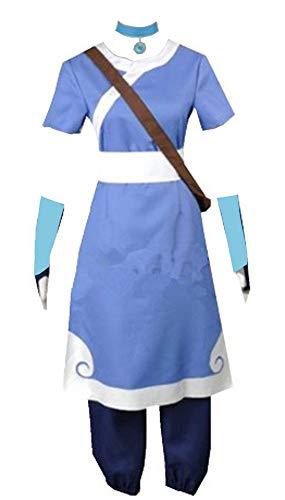 Yi Fang Katara Cosplay Costume Avatar Halloween Women Suit (Blue,...