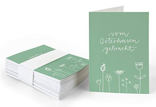25 Geschenkanhänger - vom Osterhasen gebracht - Ostergrüße Grün Weiß mit Blumen, originelle Mini Osterkarten zum Ostergeschenke Beschriften, edel exklusiv individuell, A7 Recyclingpapier Klappkarten