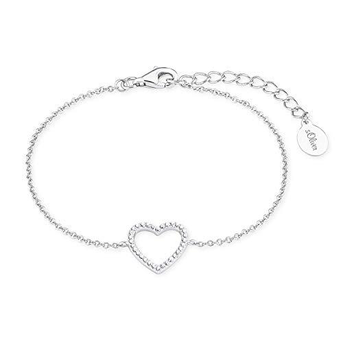 s.Oliver Armband für Damen Herz, 925er Sterling Silber rhodiniert