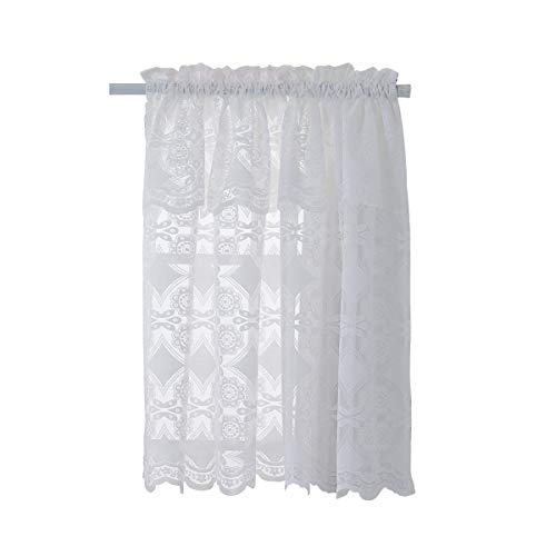 HomeyHo Rod Pocket Sheer Cafe Curtain Kitchen Lace Tier Curtain with Attached Valance Panel Half Curtains Small Curtains for Bathroom Windows Short Curtains for Bedroom Girls 29 x 36 Inch White