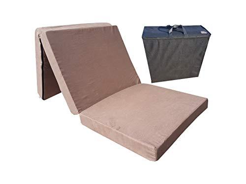 Natalia Spzoo El sillón de colchón Plegable para Invitados 180x80x10 cm con el Bolso (Marrón 2019)