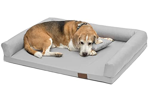 Artur Soja Lucky Ortho Orthopädisches Hundebett Schlafplatz Hundekissen Größe: M-XXL (L 100x75cm, hellgrau (Nr.03))