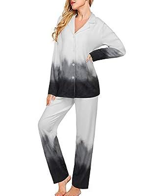 Tie Dye Lounge Sets for Women 2PCS Long Sleeve Sleepwear Button Down Nightwear Soft Long Pajamas Set Joggers PJ Sets Loungewear Black,M