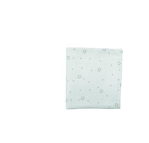 DOMIVA 1300535 Maxi Lange Bambou Etoiles Grises Blanc 120 x 120 cm