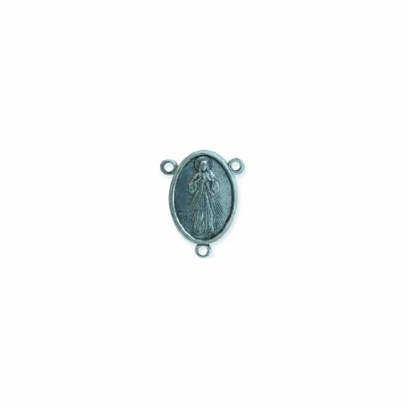 Shipwreck Beads Pewter 3-Loop Rosary Center, Metallic, Silver, 20 by 26mm, 3-Piece