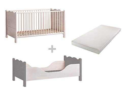 BioKinder Feli babybedje zijbed met ombouwbare zijkanten en bionisch matras van massief houten berken 70 x 140 cm wit geglazuurd