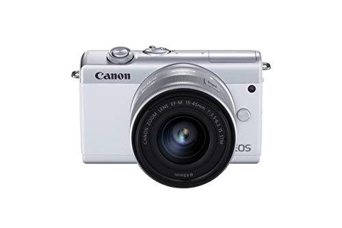 Canon EOS M200 Systemkamera Gehäuse - mit Objektiv EF-M 15-45mm F3.5-6.3 IS STM Kit (Body, 24,1 MP, klappbares Display, 4K und Full-HD, DIGIC 8, Dual Pixel CMOS AF, Bluetooth und WLAN), weiß