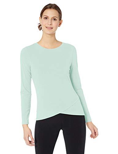 Amazon Essentials Studio Long-Sleeve Cross-Front T-Shirt Athletic-Shirts, Blue Light, US S (EU S - M)