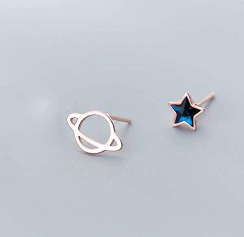 WOZUIMEI S925 Tremella Nail Mujer Estilo Coreano Estilo Dulce Del Arte Azul Diamante Estrella Asimétrico Planeta Pendientes Simplesoro rosa