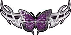 Tribal Butterfly Lady Biker Graphic in Purple - 3' h x 6' w - REFLECITVE
