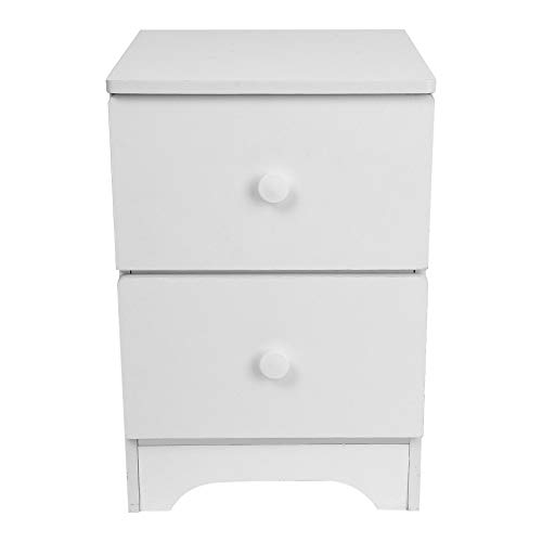 FimKaul White Nightstand with 2 Drawers - Bedside Furniture & Accent End Table Chest for Home, Bedroom Accessories, Office, College Dorm