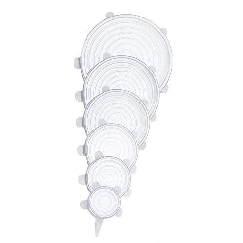 XXSLY 6 Piezas de Utensilios de Cocina, Tapas universales elásticas de Silicona Reutilizables de Varios tamaños, aptas para microondas y lavavajillas para Mantener la Comida y la Fruta Frescas