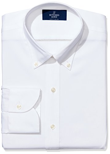 "Amazon Brand - Buttoned Down Men's Slim-Fit Button Collar Non-Iron Dress Shirt (No Pocket), White, 16.5"" Neck 37"" Sleeve"