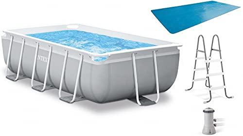 INTEX(インテックス) 大型プール プール プリズムフレームレクタングラプールセット 【フィルターポンプ・ラダー・プールカバー付属】 300×175×80cm [日本正規品] 26783 グレー