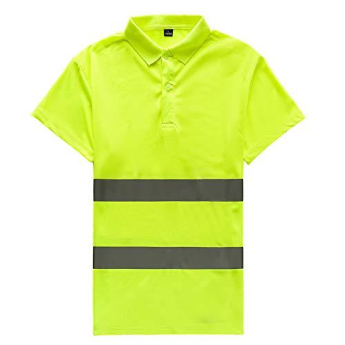 FEOYA Herren Warnweste Polo Shirt Sicherheitsweste Security Tops Reflektierende Tshirt für Jogging Running Laufen Fahrrad Motorrad