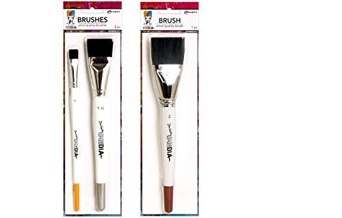 "PTP Flash Deals New Ranger Dina Wakley Media Brush Bundle - 3 (1/2"", 1 1/2"", 2"") Flat Top Brushes Plus Paint Pallet"