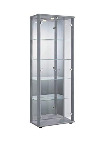 K-Möbel Glasvitrine in Silber (176x67x33 cm) mit 4 höhenverstellbaren Glasböden aus ESG, LED, Schloss und Spiegel; beleuchtet; perfekt für Sammler;