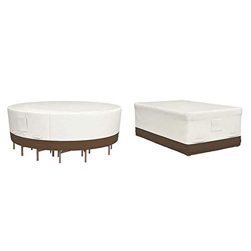 Amazon Basics Housse de Protection pour Salon de Jardin Rond Taille L & Housse de Protection pour Table 180 cm