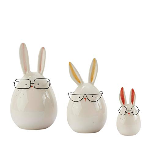 Pureday Dekofiguren Hasen mit Brille 3er Set - Osterdeko - Keramik - Weiß