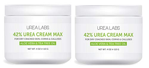 UREA LABS   42% Urea Cream MAX w/ Aloe Vera & Tea Tree Oil, 4 Oz Highest Potency Foot Cream, Corn & Callus Remover. Moisturizes & Re-hydrates Rough, Cracked, Dead & Dry Skin on Feet, Elbows and Hands (2-pack)