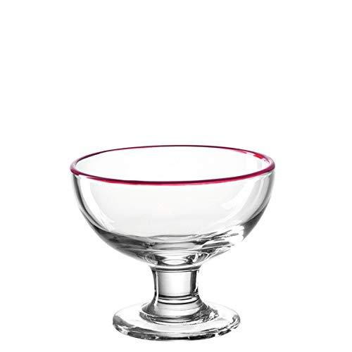 LEONARDO - Cucina - Eisschale - Glas - Klar/Rot - (HxBxT) 10 x 12 x 12 cm - D 12cm