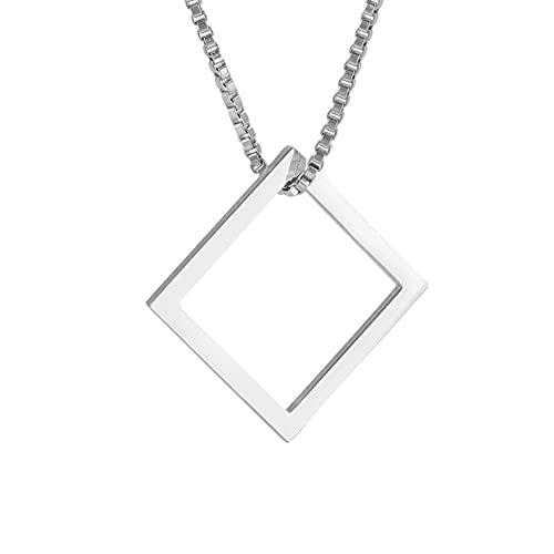 Amaxer Collar con colgante cuadrado de triángulo geométrico con diseño de estrella de David, pentagrama de menora, de acero inoxidable, unisex, cadena de caja de 23 pulgadas, Metal,