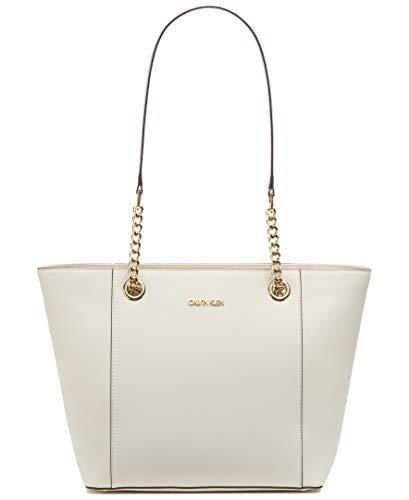Calvin Klein Hayden Saffiano Leather East/West Top Zip Chain Tote, White/White