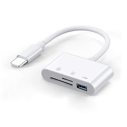 【注目!当社最新】iPhone/iPad用 SDカードリーダー iOS13 双方向転送 データ転送/Office資料/写真/ビデオ SD/TF 3in1 カメラアダプタ USBポート付き SD/Micro SDカードリーダー iPhone11/11Pro/11Pro Max/XS Max/XS/X/XR/8/8P/iPad2019/2018/iPad Pro2017など対応 (ホワイト)