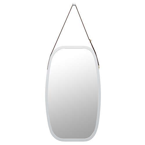 ZRI Bamboo Ganzkörperspiegel Badspiegel Wandspiegel Groß Garderobenspiegel - Türspiegel Ankleidespiegel mit Verstellbarer Ledergürtel 74x43cm(Weiß)