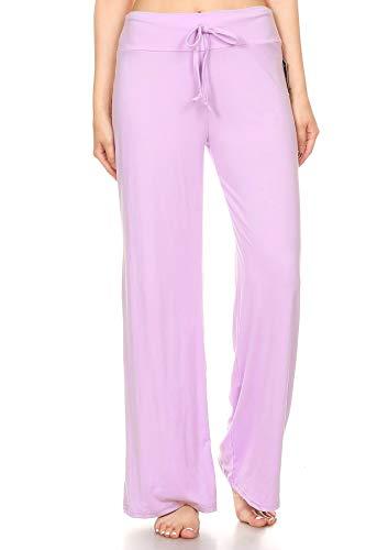 Leggings Depot PJ10SOLID-LAVENDER-L Pajama Lounge Pants, Large