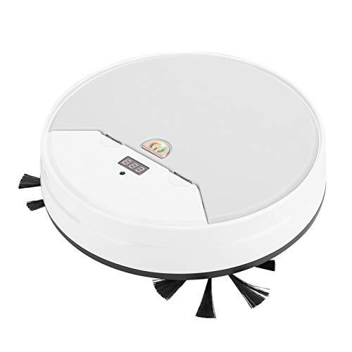 Robot aspirador inteligente, carga USB, Wi-Fi, barredora inteligente silenciosa, polvo flotante, uso doméstico, suelos duros para pelo de mascotas(white)