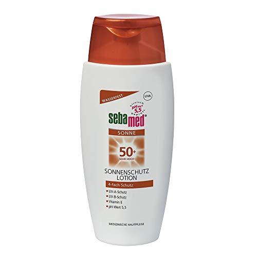 Sebamed Lotion LSF 50+, täglicher Sonnenschutz, insbesondere für den Körper, 4-fach Schutz, 150 ml