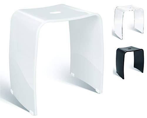 Libaro Badhocker Meran aus Acryl, für die Dusche geeignet, mit Griff, Zeitloses Design, rutschsicher mit Gummifüßen (weiß)