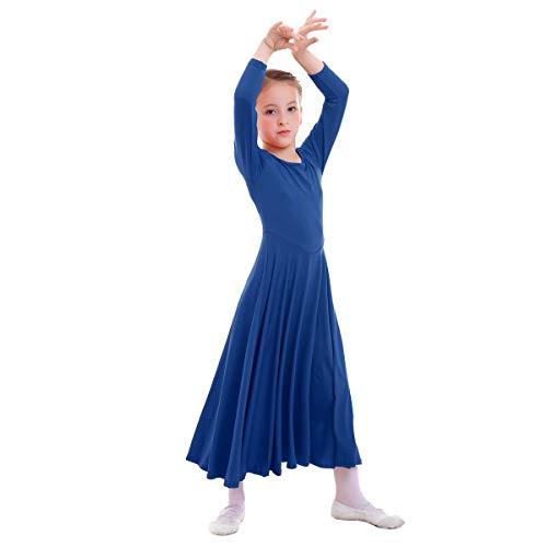 OBEEII Vestido de Liturgico Danza Niñas Vestido Maillot Leotardo Gimnasia Disfraz de Baile Clásica Combinación para Bautizo Danza Iglesia Ceremonia Casual 002 Azul Real 13-14 Años