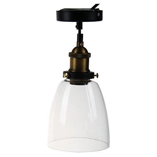 SovelyBoFan - Lámpara de techo colgante de cristal Edison con diseño de barra de café y cocina (diámetro de la cabeza envejecida, 14,5 cm)